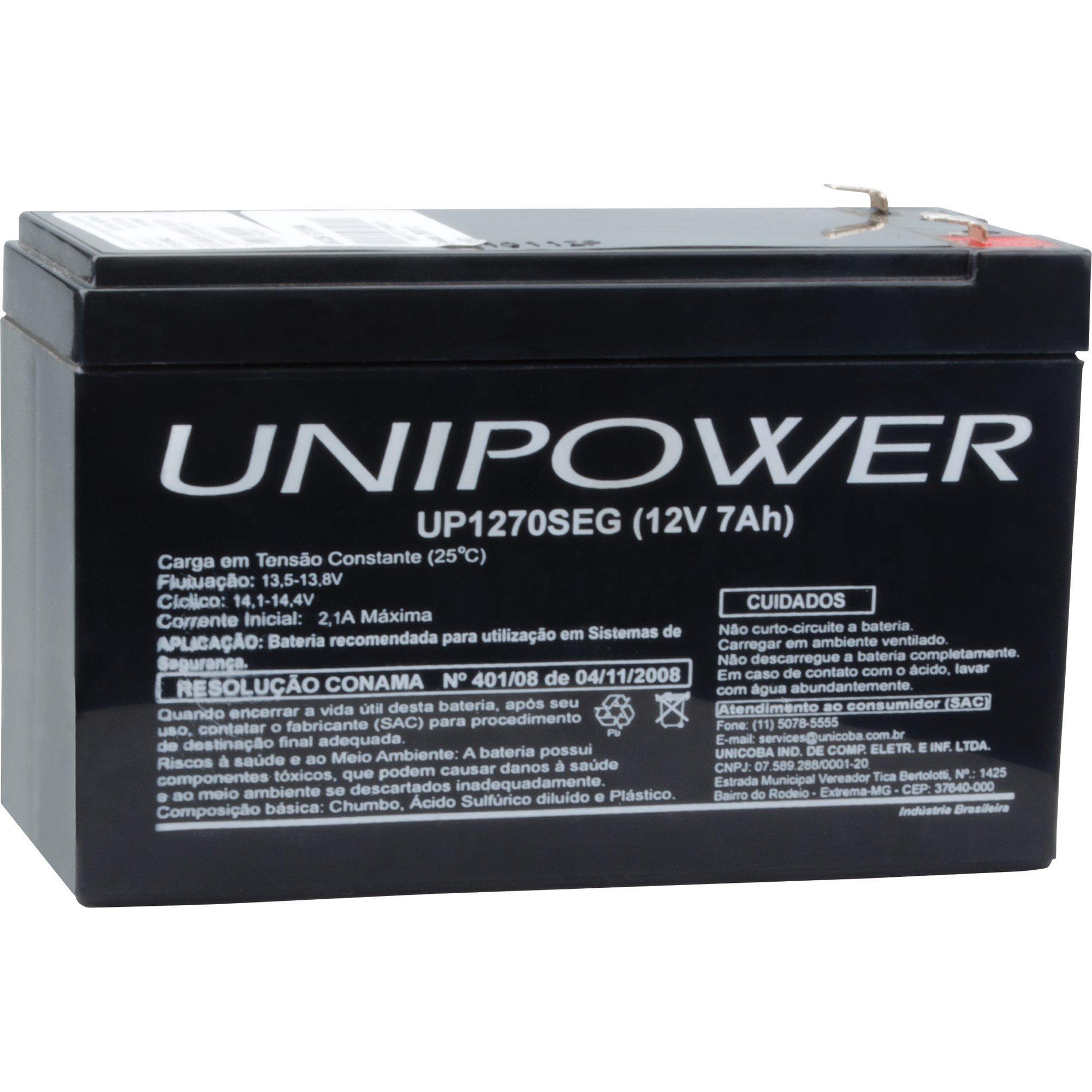 bateria selada especial 63595 unipower rer up1270seg 12v 7a 45015 2000 193281