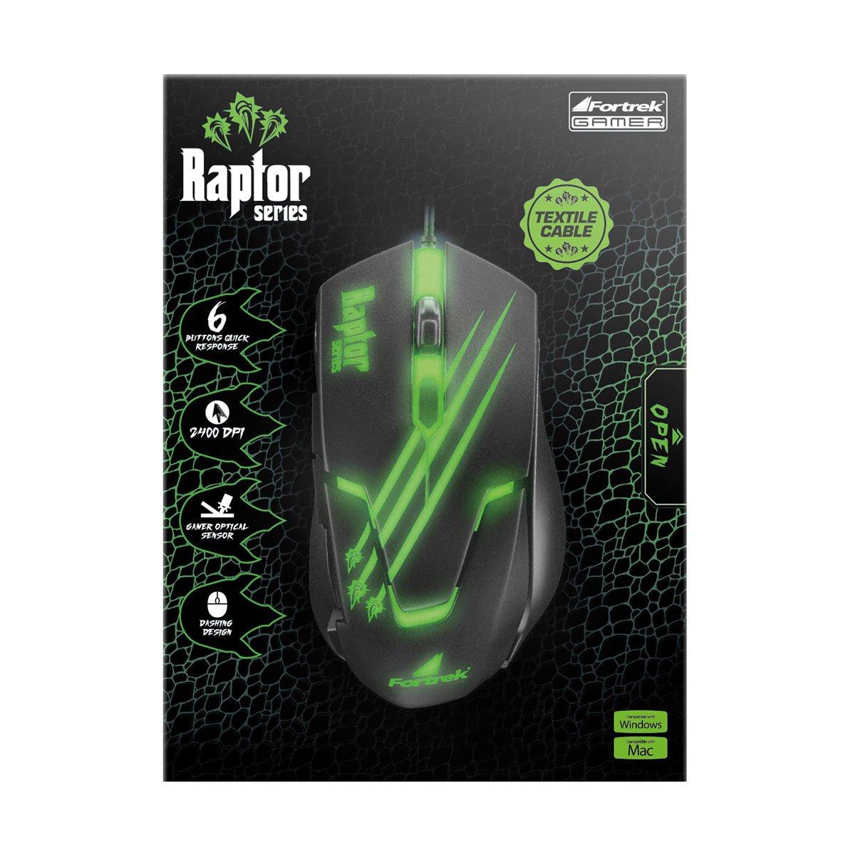 mouse gamer usb optico 2400dpi om801 raptor fortrek preto 37745 2000 191890