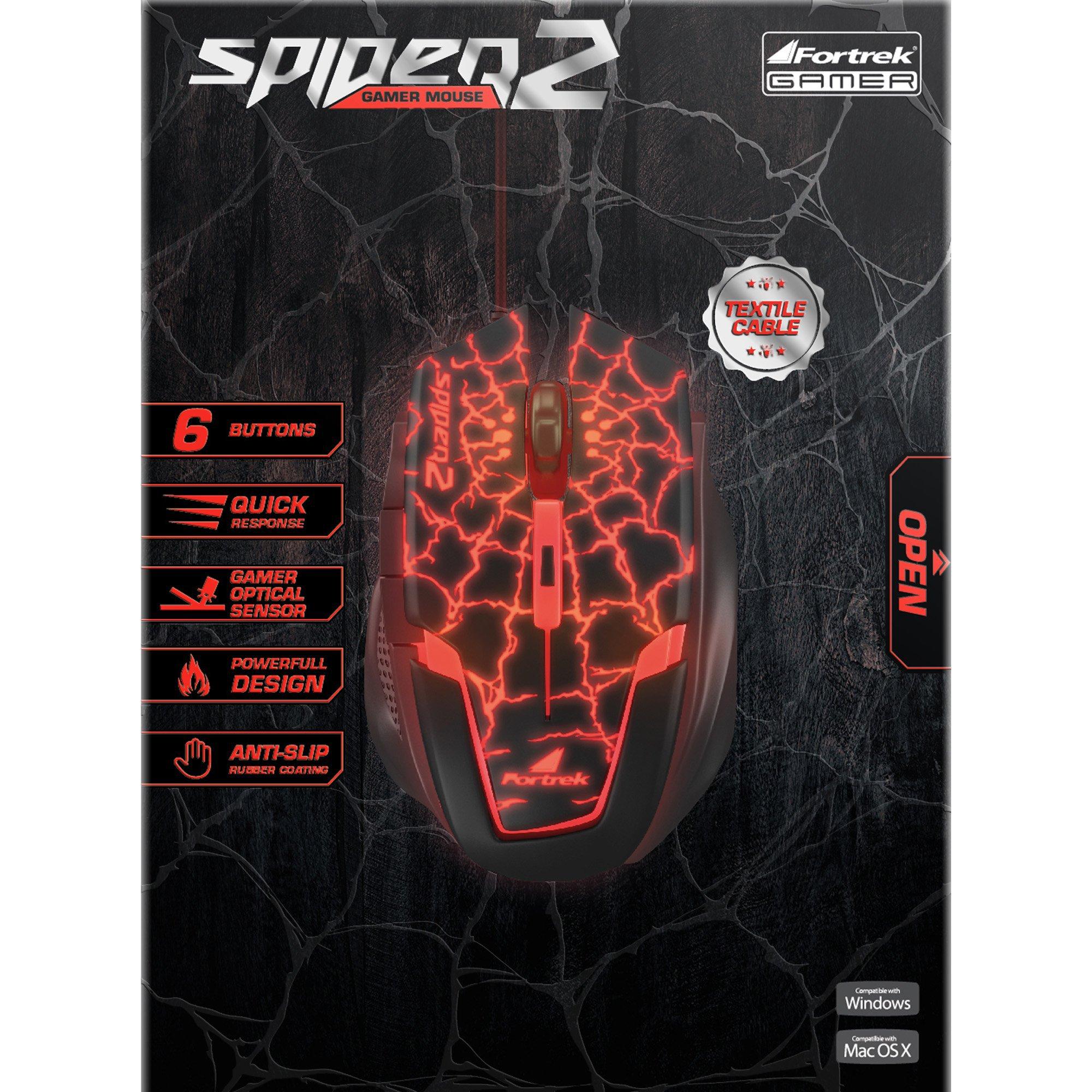 mouse usb gamer oferta quente preto vermelho fortrek 2 om 705 3200dpi spider 42929 2000 181182