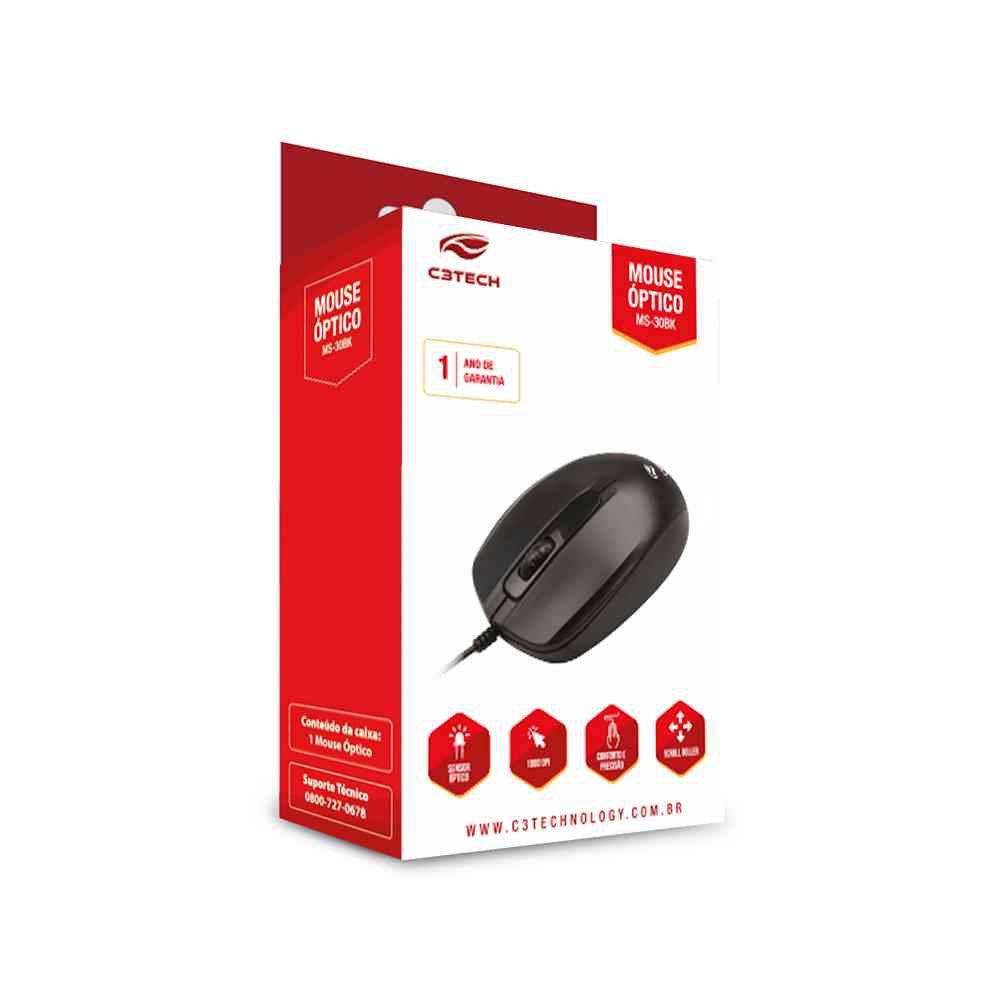 mouse usb ms 30bk c3 tech preto 45096 2000 200916