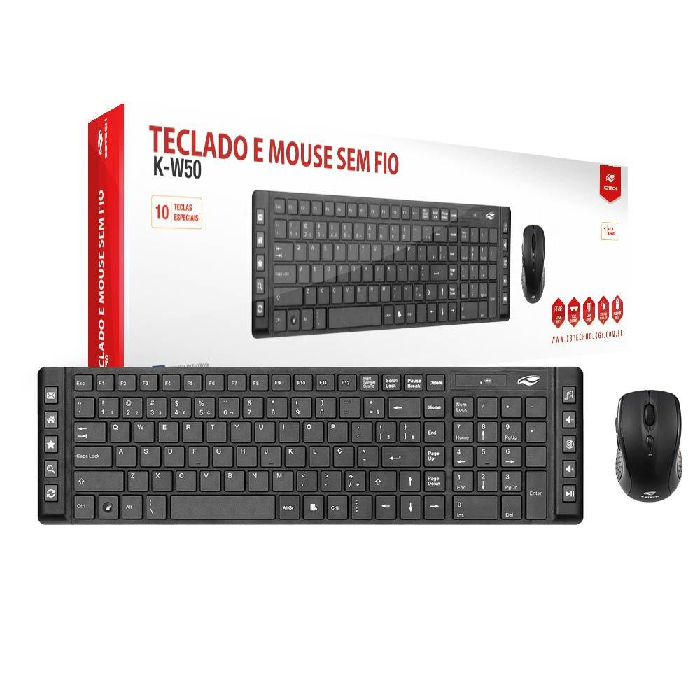 teclado e mouse sem fio c3 tech k w50bk preto 45693 2000 195469