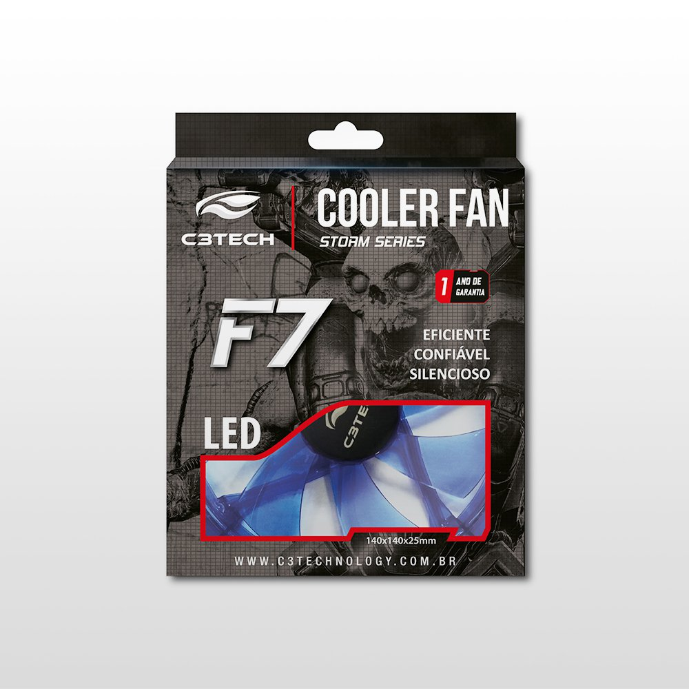 cooler 12x12 f7 l100 bl azul storm 12cm led c3 tech 47855 2000 199586