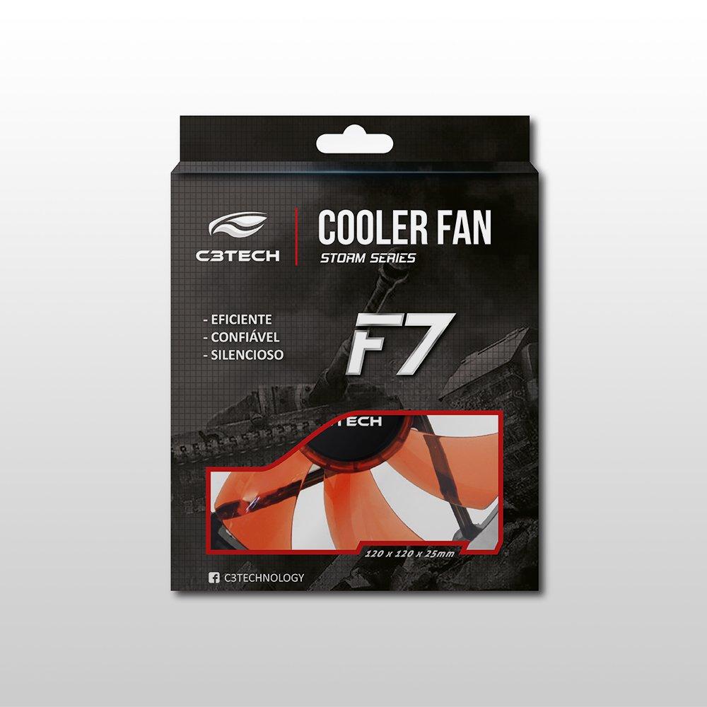 cooler 12x12 f7 l100 rd vermelho storm 12cm led c3 tech 47854 2000 199584