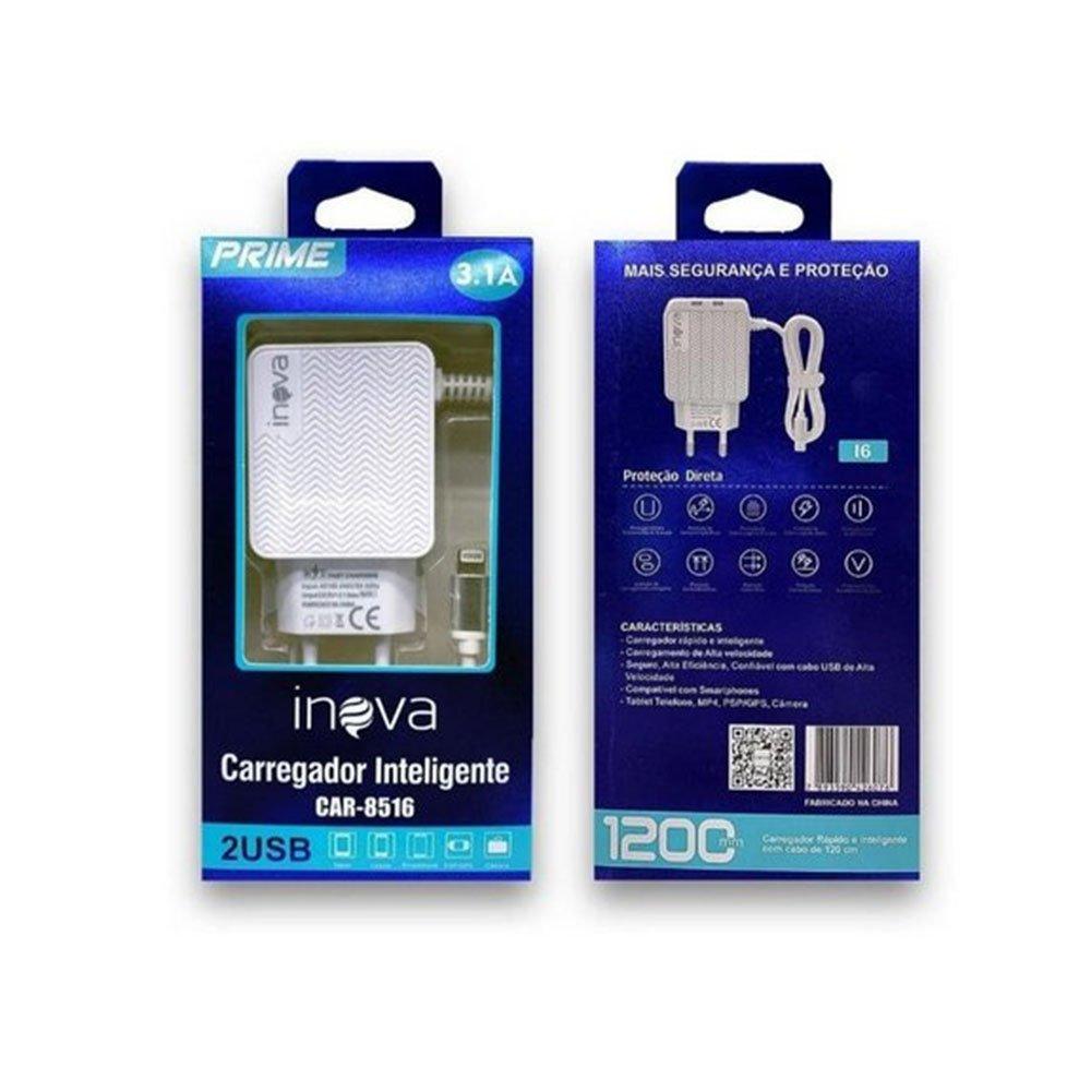 carregador rapido de celular iphone tomada inova prata 49663 2000 202660