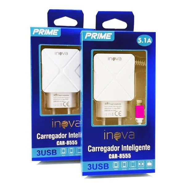 carregador rapido de celular iphone tomada inova rosa 49665 2000 201989