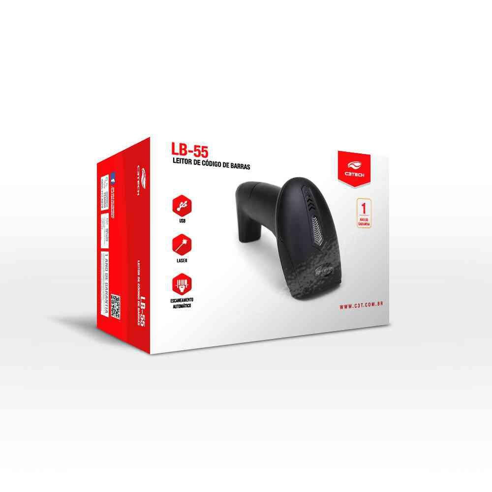 leitor de codigo de barras laser lb 55k c3 tech 49959 2000 201283