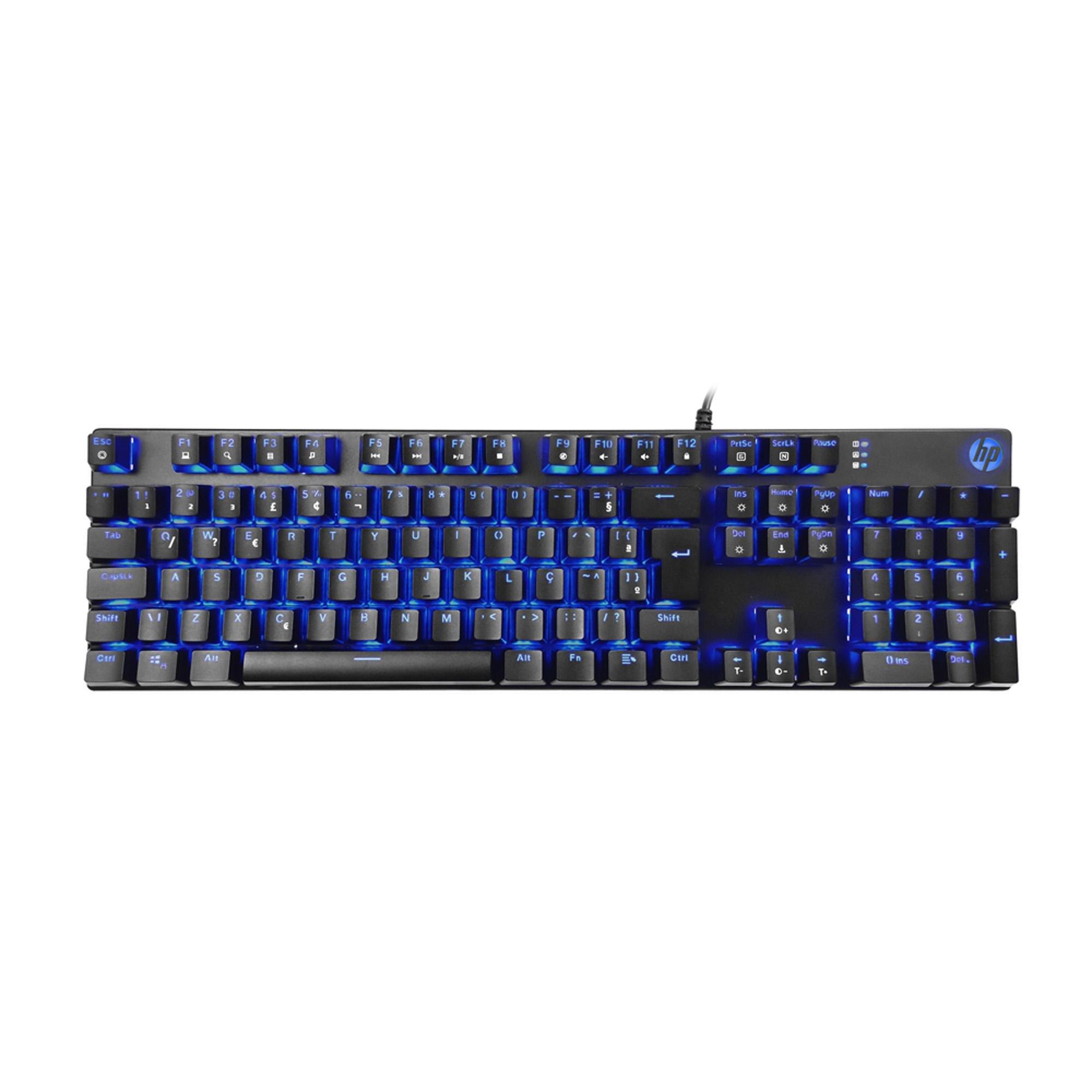 teclado gamer tentadora preto hp led gk400f usb mecanico 50115 2000 201438