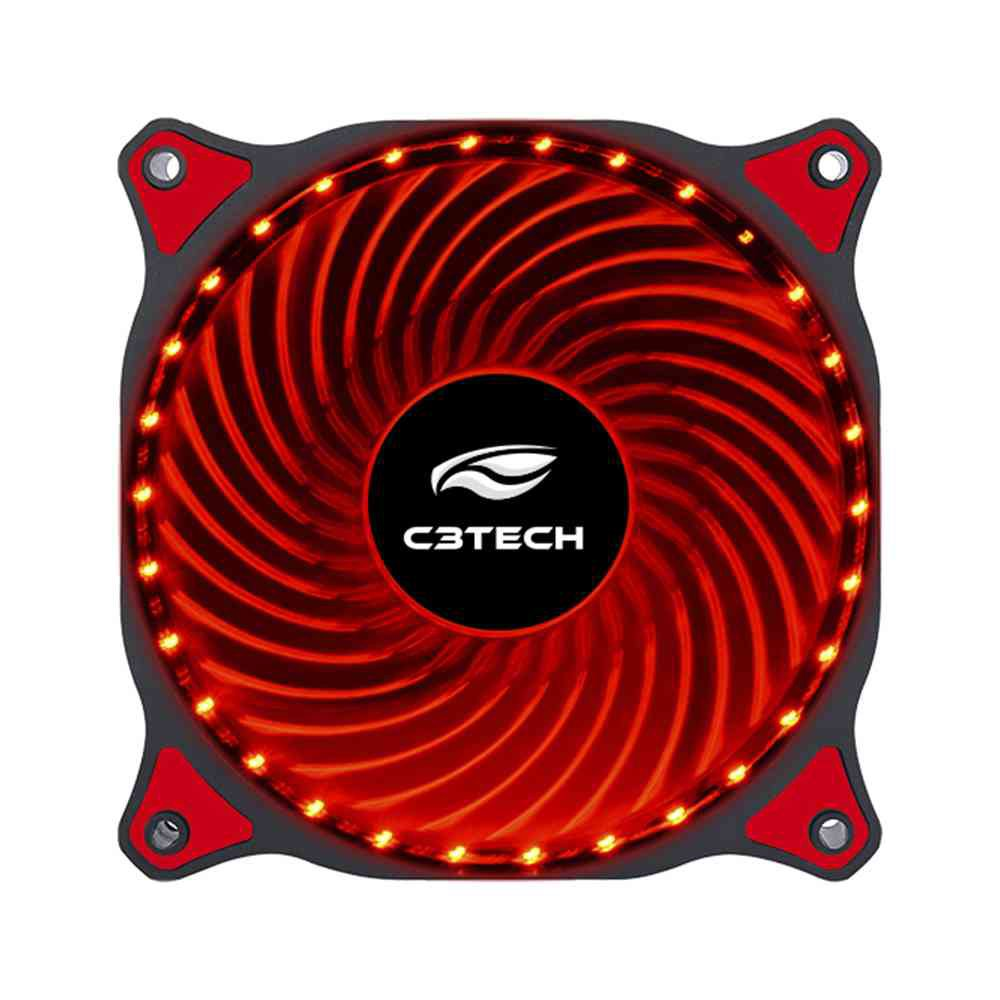 cooler 12x12 f7 l130 rd vermelho storm 12cm led c3 tech 50127 2000 201486