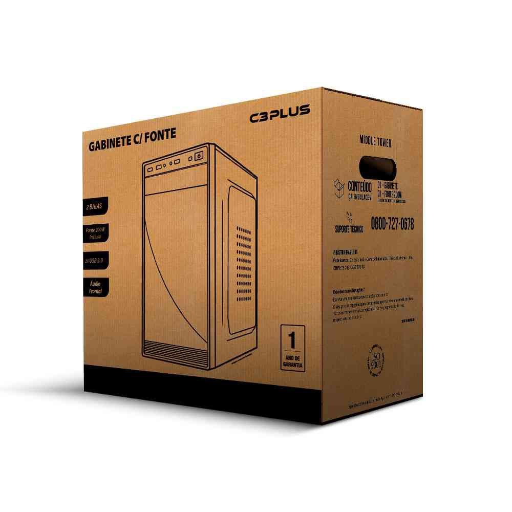 gabinete micro atx mt 11bk com fonte ps 200w c3tech s cabo 50109 2000 201451