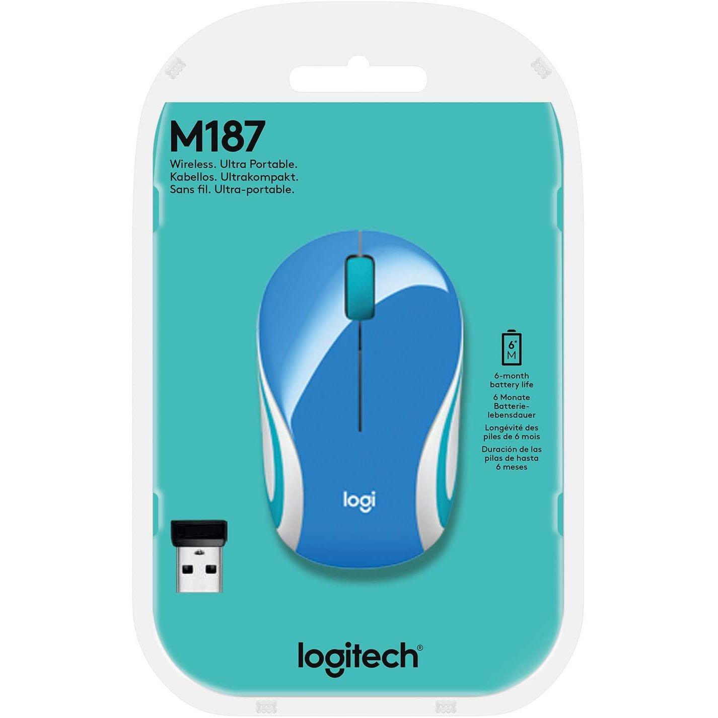 mouse sem fio logitech m187 24ghz azul 50105 2000 201472
