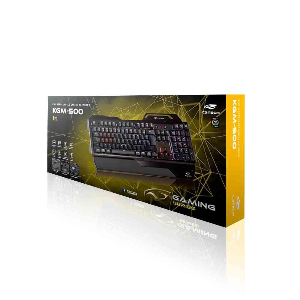 teclado gamer usb kgm 500bk c3tech preto 50165 2000 201576