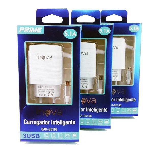 carregador rapido de celular v8 tomada inova g5168 51 branco 50202 2000 201990 2