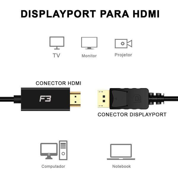 cabo adaptador conversor displayport para hdmi 18 mt jc cb dmi18 50704 2000 202270