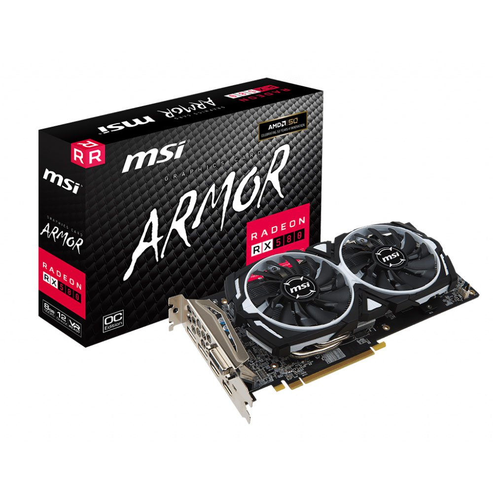 placa de video 8gb rx580 msi armor hdmi dvi disp ddr5 50699 2000 202440