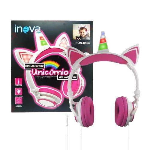 fone de ouvido unicornio led fon 8524 inova 50925 2000 202788