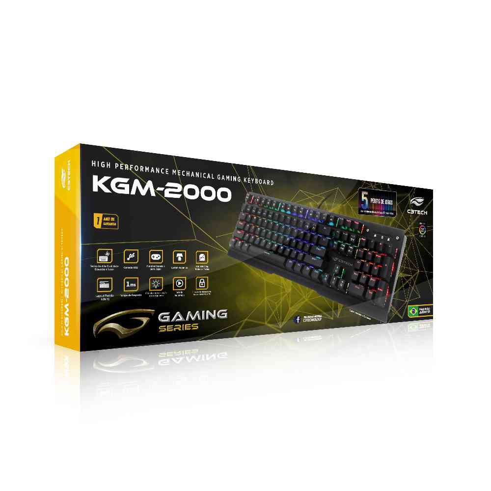 teclado gamer usb mecanico kgm 2000 c3tech preto 49377 2000 200250 1