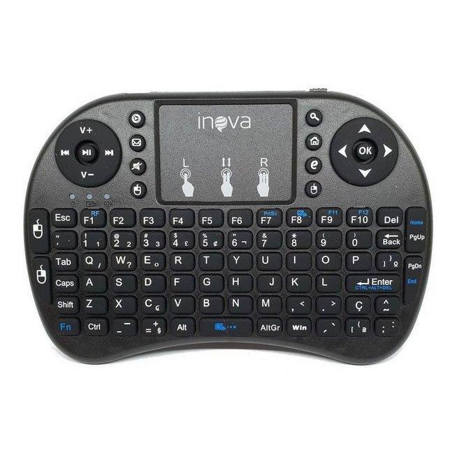 teclado mini sem fio com touchpad mouse p smart tv not inova key 7383 preto 50964 2000 202993