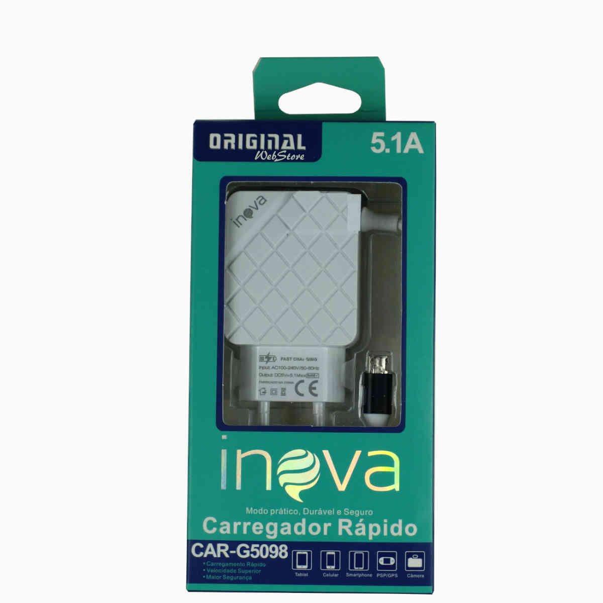 carregador rapido de celular v8 tomada inova 5098 azul 50995 2000 203057