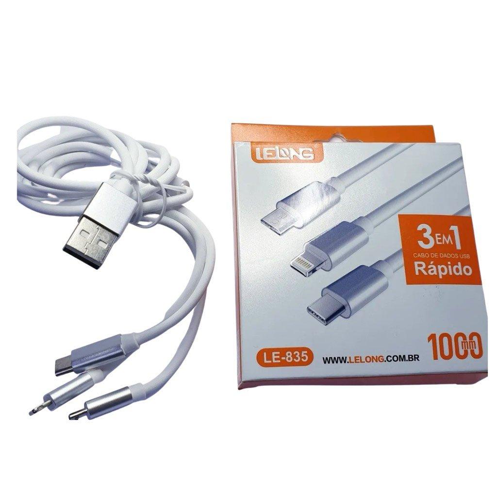 cabo celular 3 em 1 v8tipo c iphone le 835 lelong 51204 2000 203528 1
