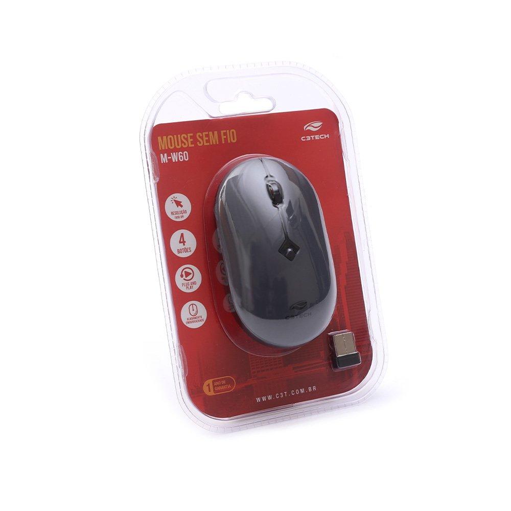 mouse sem fio 1600dpi m w60gy cinza c3tech 51611 2000 204642 1