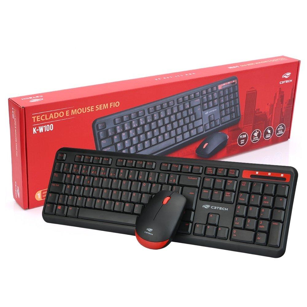 teclado e mouse sem fio c3 tech k w100bk preto 51605 2000 204625 1